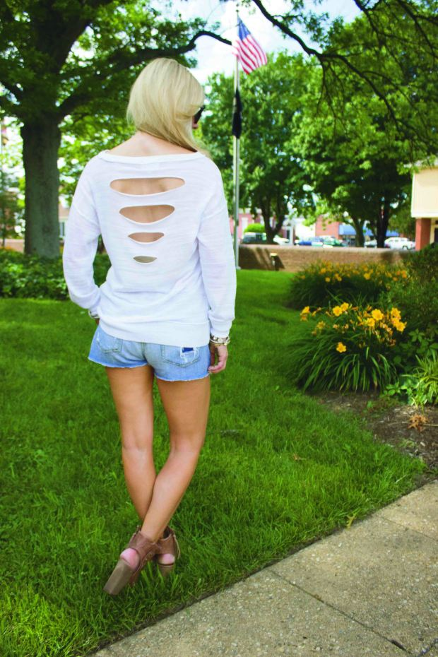Cut Offs and a White Sweater