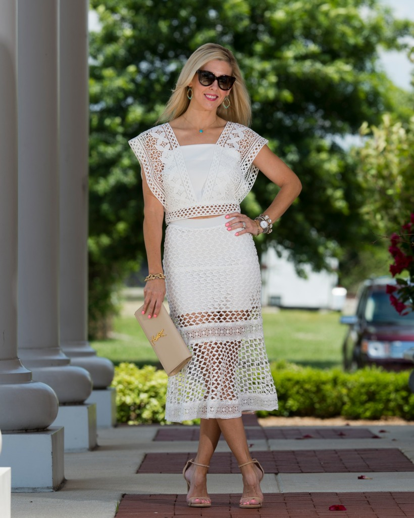 Chicwish Crochet Cropped Top and Skirt