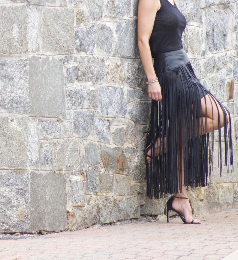 Faux Leather Fringe Skirt