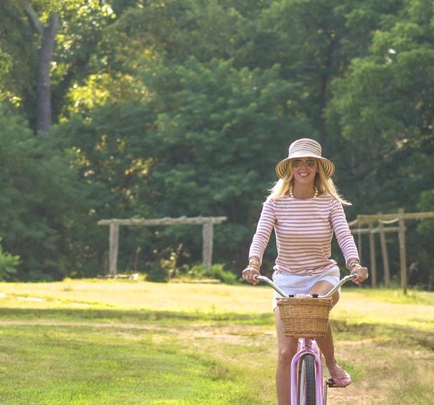 Pink Stripes and Pink Bike