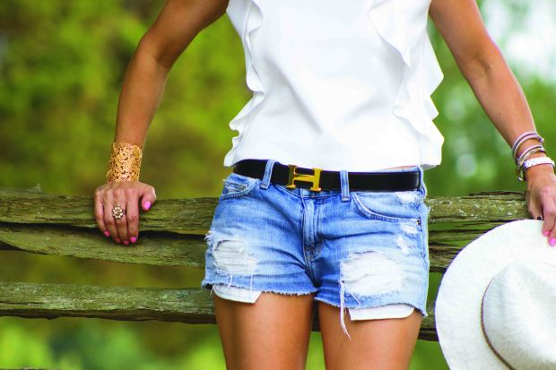 White Ruffle Top with Cutoff Shorts