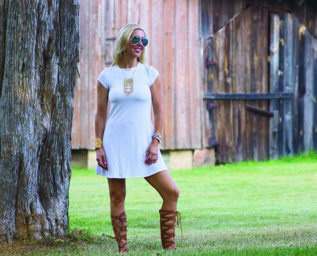 White T-Shirt Dress and Gladiators