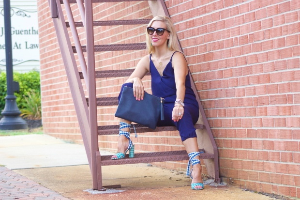 Navy Jumpsuit and Gingham Heels