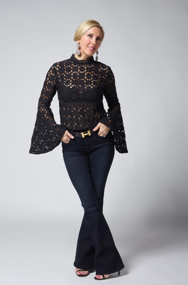 Free People Black Crochet Shirt