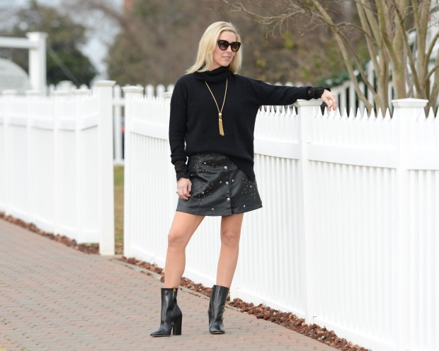Romwe Faux Leather Skirt