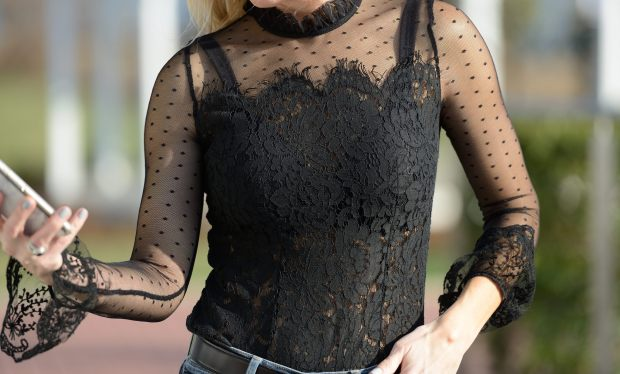 Romwe Black Lace Trip Top