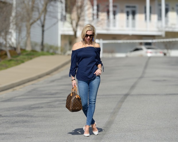 Navy Off The Shoulder Top