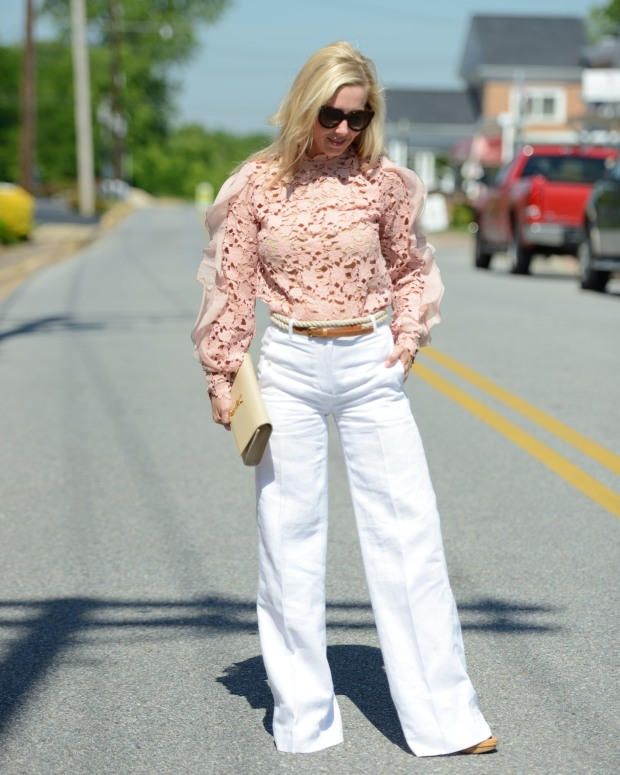 Pink Self Portrait and White Linen Pants