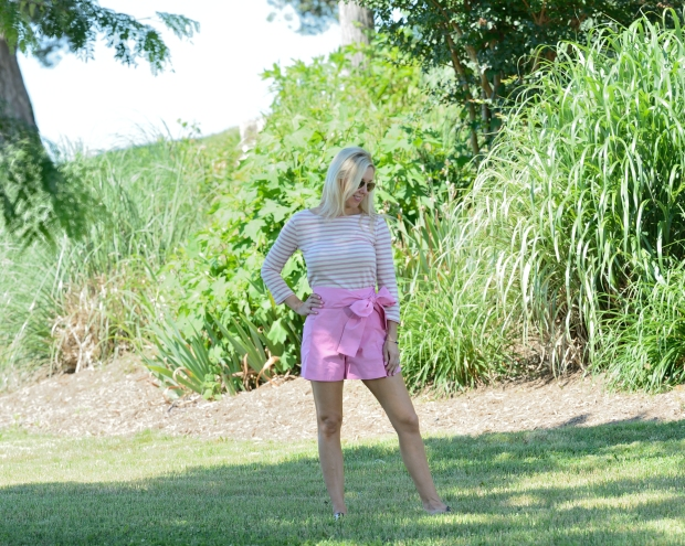 Pink Shorts and Striped Pink Top