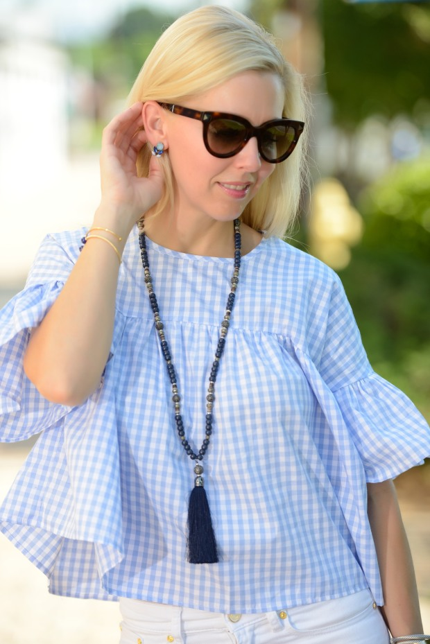 Romwe Gingham Top