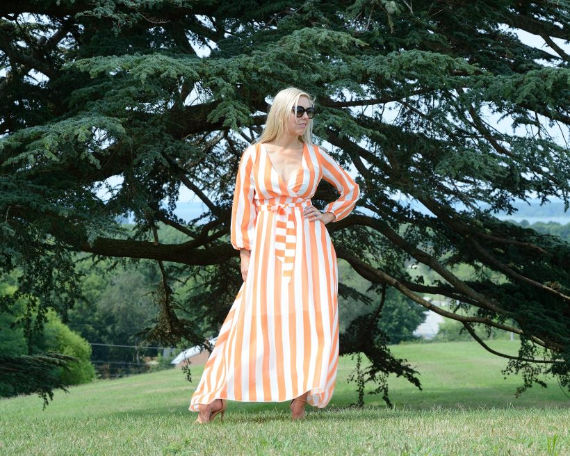 Romwe Orange Striped Dress
