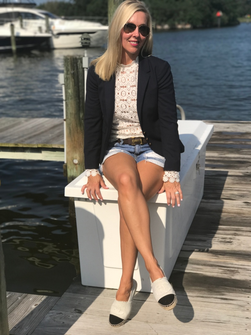 Navy Blazer and Cut Off Shorts