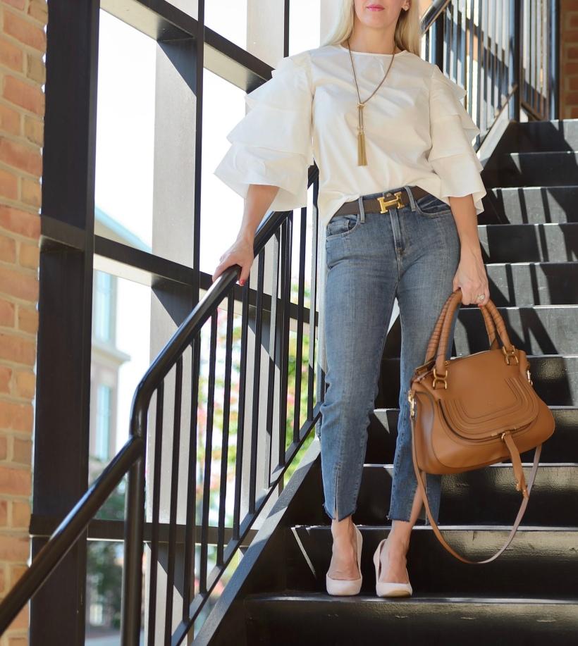 White Top - Ruffle Sleeves