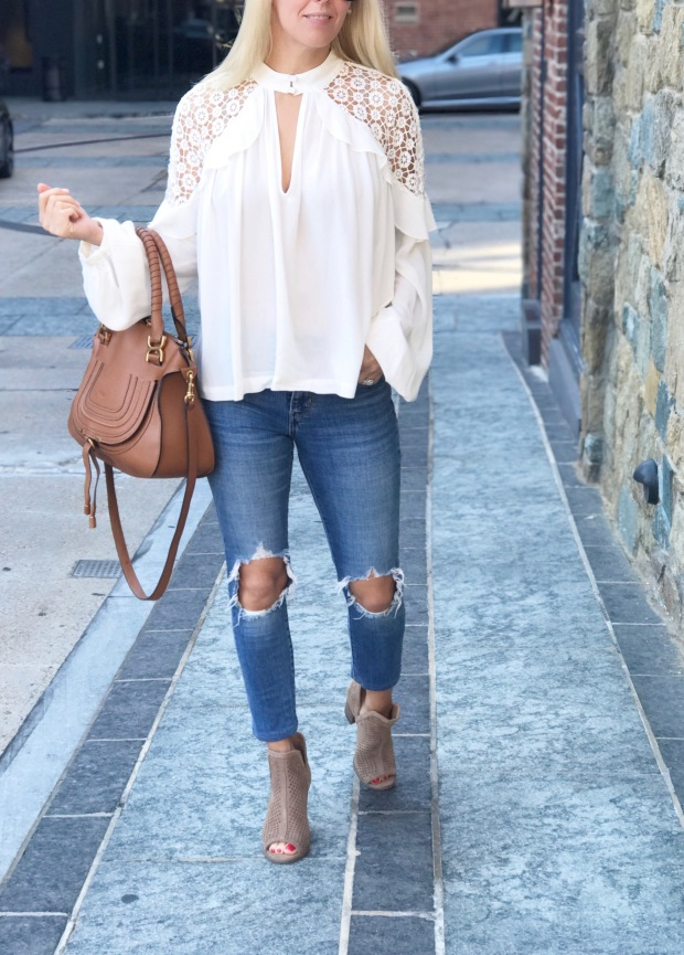Free People Flowy White Blouse